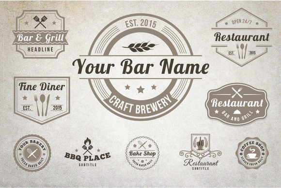 10 Vintage Restaurant Logos by Lucion Creative on Creative Market