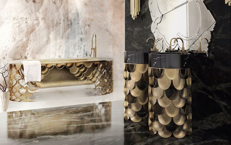 Koi Bathtub by @mvalentinabath  is a freestanding bathtub with base in aged brushed brass, and the interior in aged brushed iron. 50 Magnificent Luxury Master Bathroom Ideas ➤To see more Luxury Bathroom ideas visit us at www.luxurybathrooms.eu #luxurybathrooms #homedecorideas #bathroomideas @BathroomsLuxury