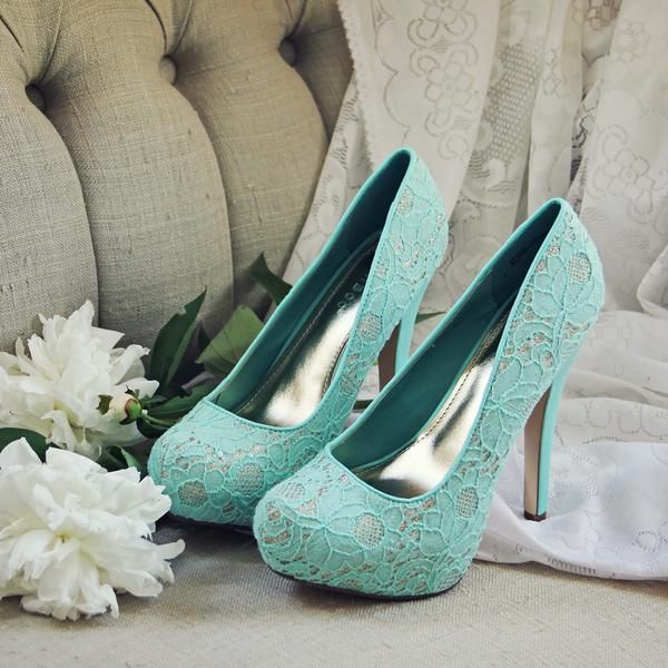 """Soft mint toned lace pairs with sweet gold details on these gorgeous heels. Designed with a stacked toe and gold interior these heels are the perfect addition to your summer wardrobe.  Color: Mint Heel Height: 4"""", Toe 1"""""""