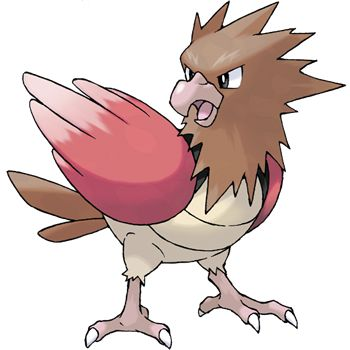 Spearow - 021 - Very protective of its territory, it flaps its short wings busily to dart around at high speed. Eats bugs in grassy areas. It has to flap its short wings at high speed to stay airborne.  @PokeMasters.net