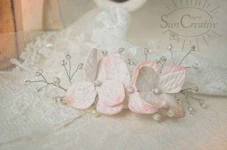 Свадебное украшение.  Цветы гортензии.  Студия Suncreative.  http://vk.com/id70291624