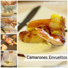 Receta de Camarones rellenos de queso y envueltos en tocino con crema de Jalapeño