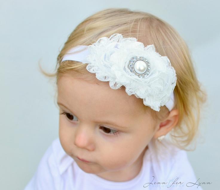 White Headband... Baby Headband... Baptism Headband. $9.95, via Etsy.