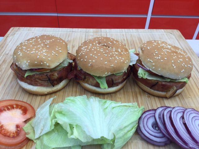Serving the bacon bomb as a hamburger with homemade BBQ sauce....soooo good