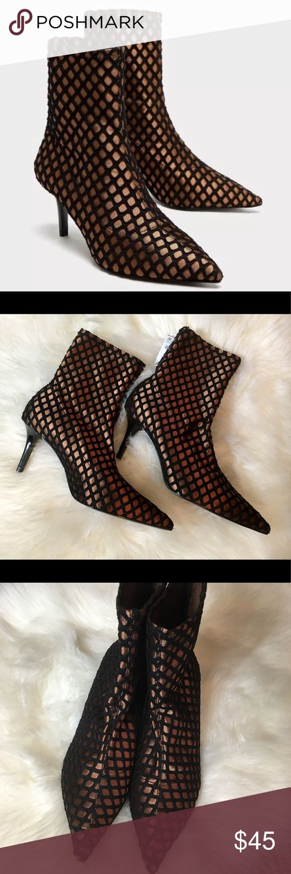 """ZARA Ankle Boots ZARA Ankle Boots  • Bronze colored w/black fabric pattern design  • Pull on stretchy material  • 2.5"""" Heel height  • Size 38 = US 7.5   📬  - Orders ship w/in 24- 48 hrs. Monday - Friday.  - Orders placed on weekends/holidays ship next business day.   Bundle 3 or more items for Private Offer Discount 😉 Zara Shoes Ankle Boots & Booties"""