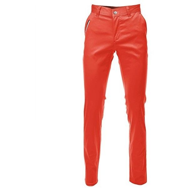 FLATSEVEN Mens Slim Fit Chino Pants Trouser Premium Cotton ($37) ❤ liked on Polyvore featuring men's fashion, men's clothing, men's pants, men's casual pants, trousers, mens cotton pants, mens slim fit chino pants, mens chinos pants, mens pants and mens orange pants