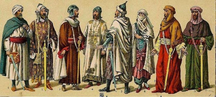 """""""Los hombres podían escoger dos tipos de túnicas: una corta con una falda comparativamente ancha y mangas estrechas (en árabe Al-Shaya) o una vestimenta larga hasta el suelo con anchas mangas (en árabe Al-Jubba). La primera se prefería para cazar, para la cetrería, los torneos y otras actividades al exterior. La jubba (larga) se vestía para las ocasiones en la corte, fiestas, música y poesía"""""""