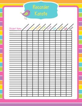 Recorder Karate Belt Checklist
