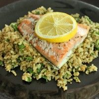 Salmon Over a Super-Quick Brown Rice and Quinoa Pilaf