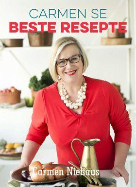 NB Publishers | Book Details | Carmen se beste resepte. Een van Suid-Afrika se geliefste kosredakteurs (Huisgenoot). Al haar gunstelinge nou in een boek! Van wortel- en beetkoek wat sy vir Koekedoor se TV-program gekook het en Banoffee-tert, tot haar heerlikste Bobotie en Banting-lasagne.