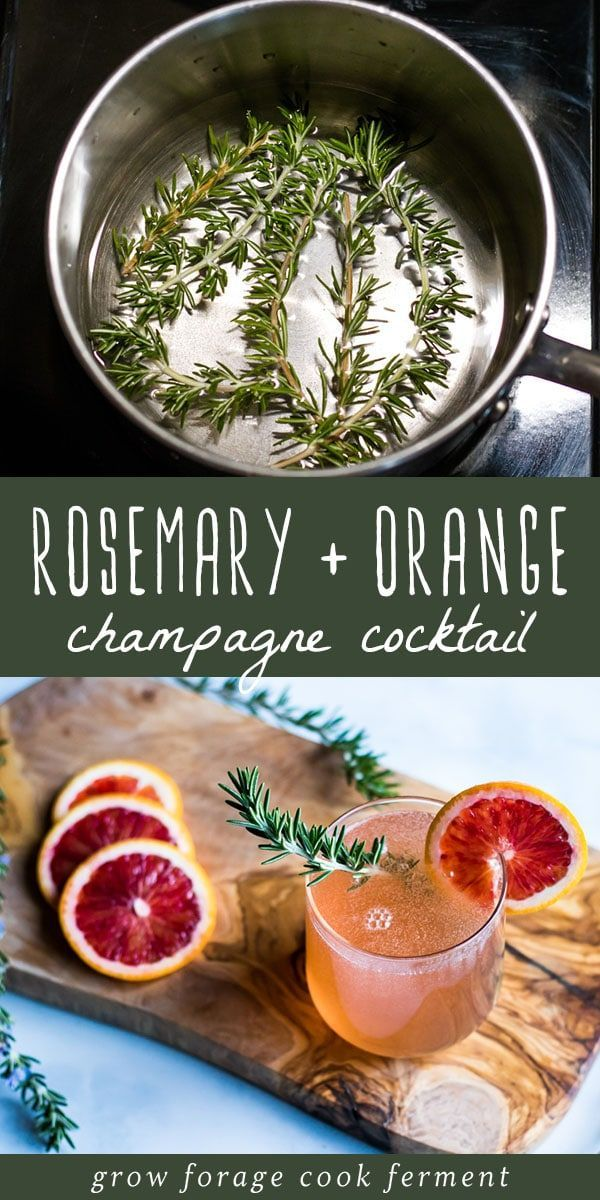 Rosemary Champagne Cocktail with Blood Orange