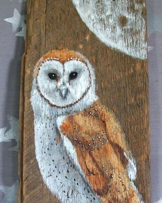 Barn Owl Authentic Barnwood Rustic Hand Painted 7 1 2