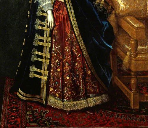 "Turkotek article on Anatolian rugs used in 17th century (and later) paintings.  Note: ""FIG. 123. 1615-1620. Unknown painter. Elizabeth Howard, later Countess of Suffolk. Detail. Kenwood House."""