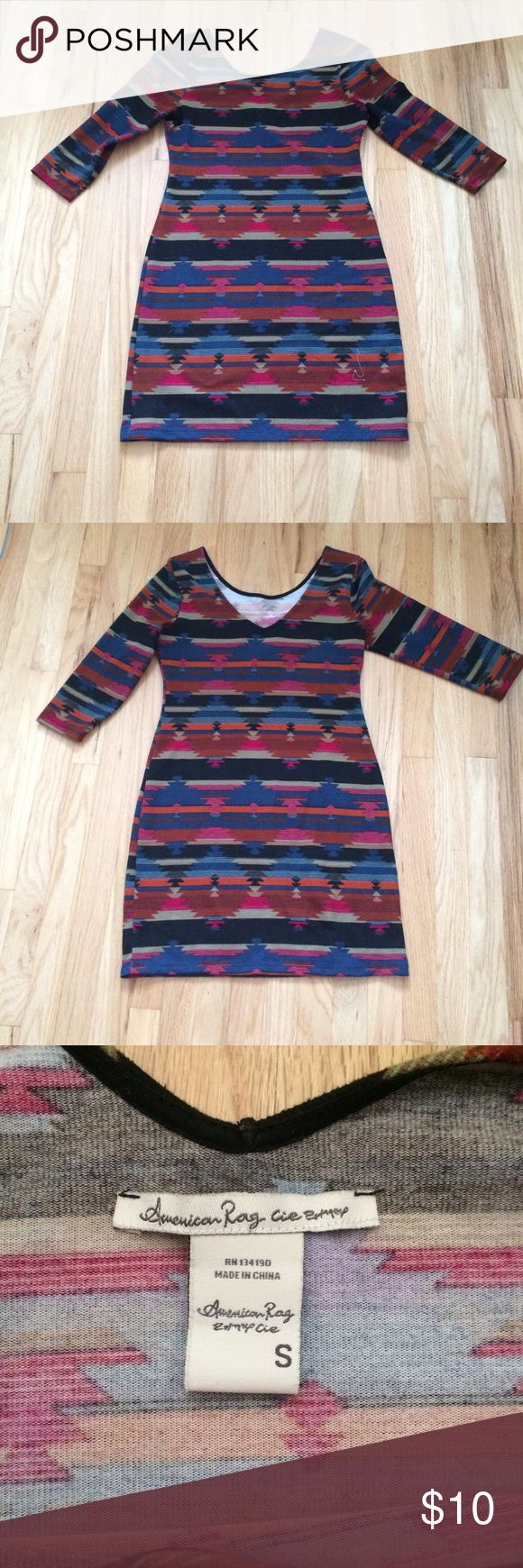AZTEC BODYCON DRESS This dress is truly unique! Looks amazing on! Material is thicker for fall and winter wear. No rips or stains. Looks great with riding boots and a cardigan. Sadly does not fit me anymore. Has a v back and is stretchy. American Rag Dresses Mini
