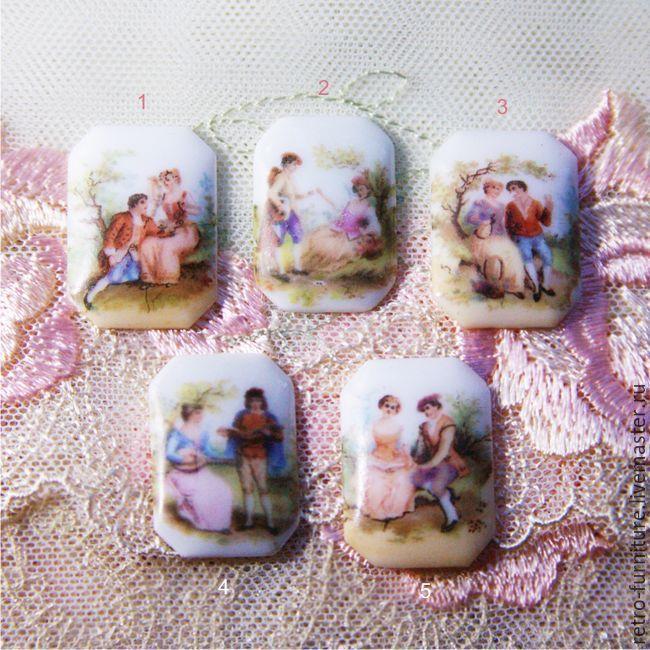 Купить Антикварные фарфоровые кабошоны-камеи, Франция Лимож, размер 25х18мм…