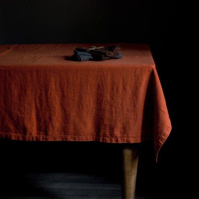 Orange Washed Linen Tablecloth
