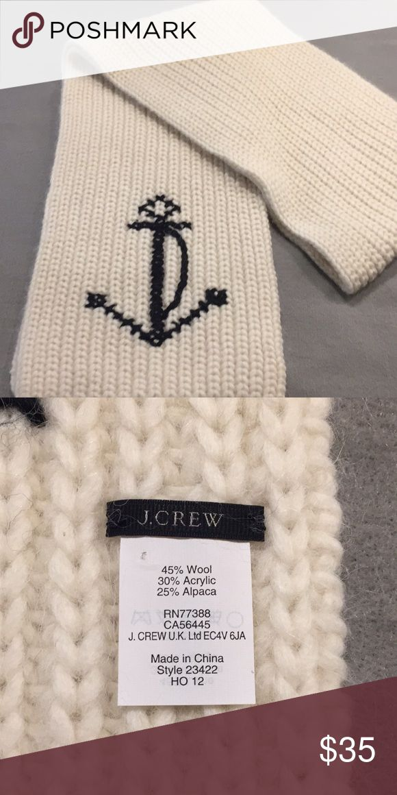 """J.Crew anchor scarf This luxuriously chunky rib-knit scarf is a windy-weather savior—and a winter-wardrobe wonder—and it's finished with one of our all-time favorite motifs: large nautical anchors embroidered on either end. 82""""L x 10""""W. J. Crew Accessories Scarves & Wraps"""