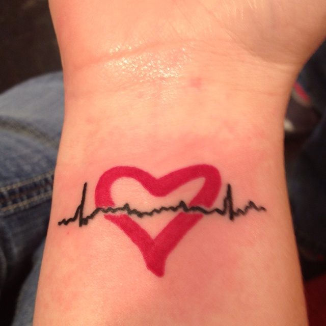 Heartbeat Tattoo With Heart Heartbeat tattoos- this isHeartbeat Tattoo