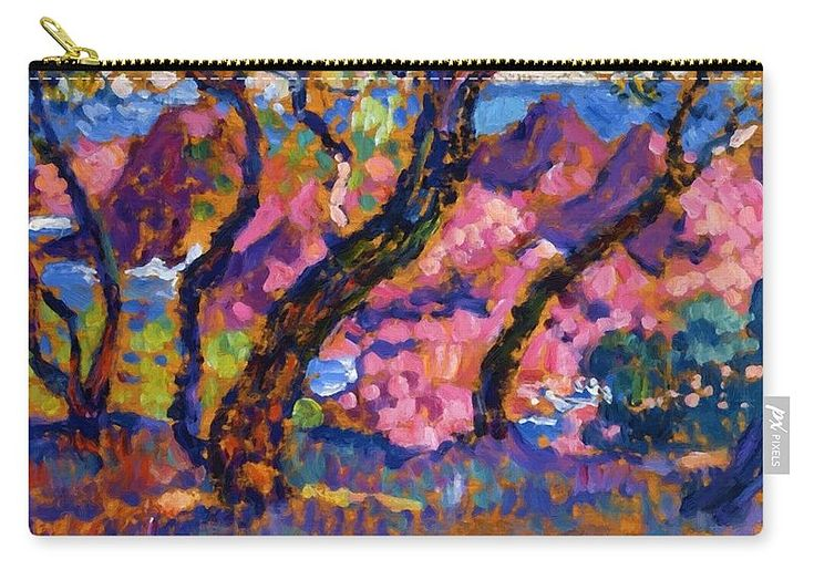 In Carry-all Pouch featuring the painting In The Shade Of The Pines Study 1905 by Rysselberghe Theo van