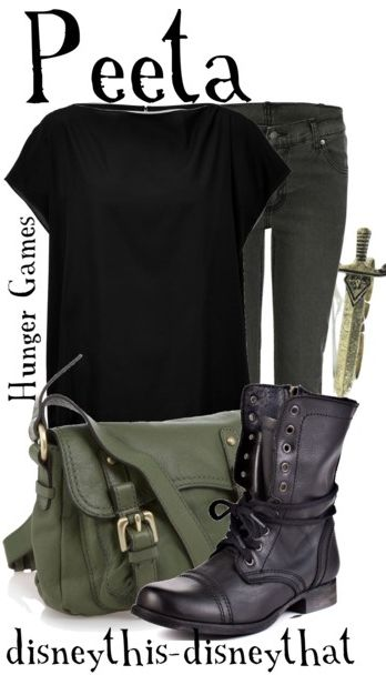 Hunger Games inspired clothing by disneythis-disneythat. Peeta. Skinny jeans and loose tops.