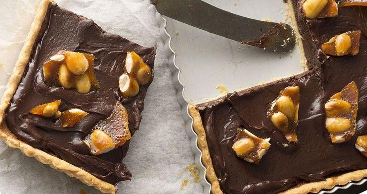 Τάρτα σοκολάτας με καραμελωμένα αμύγδαλα