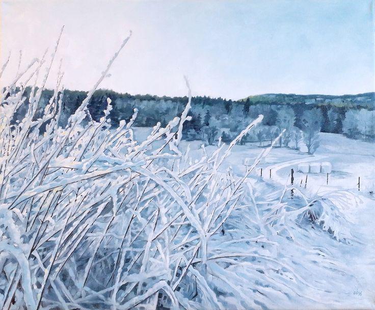 Vinterväg mot sjön.  #målning #oljemålning #oljemålningar #konst #erikspalett #painting #oilpainting #oilpaintings #art #artist #sweden #härnösand #häggdånger #oil #colors #oilcolor #colour #oilcolour