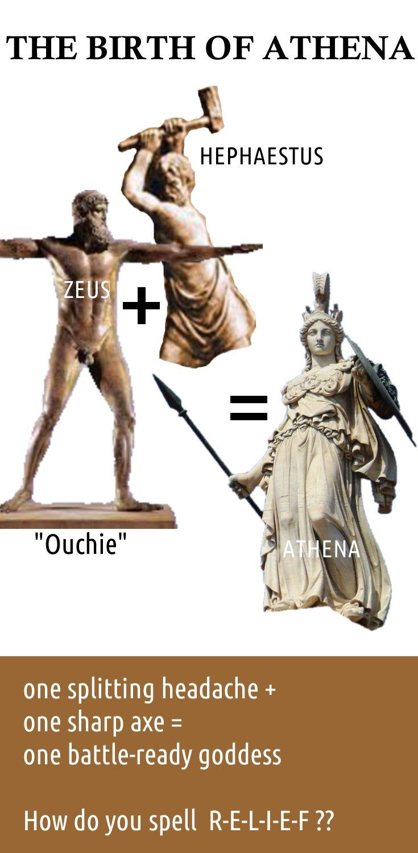 The birth of Athena.  Greek mythology funny.