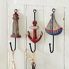 Anchor, Boat, & Lighthouse Trio of Wall Hooks