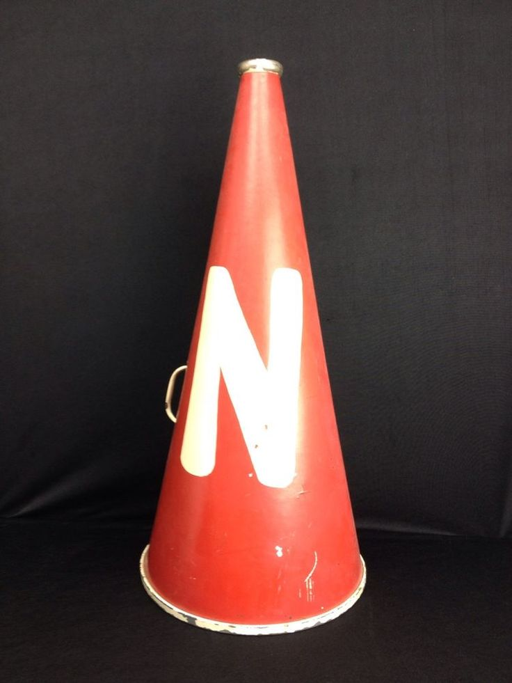 "Vintage Red 1974 1975 Cheerleading Megaphone Prop Metal and Cardboard 28.5"" H  #Unbranded"