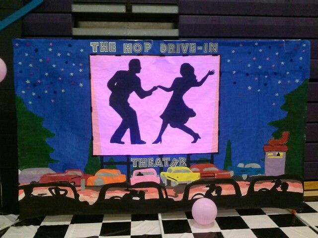 50s backdrop #1 | 50's Banquet in 2019 | Sock hop party ...