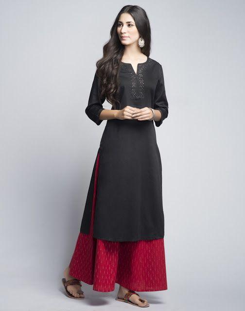Z Fashion Trend: BLACK COTTON MUKAISH LONG KURTA WITH PRINTED PALAZ...