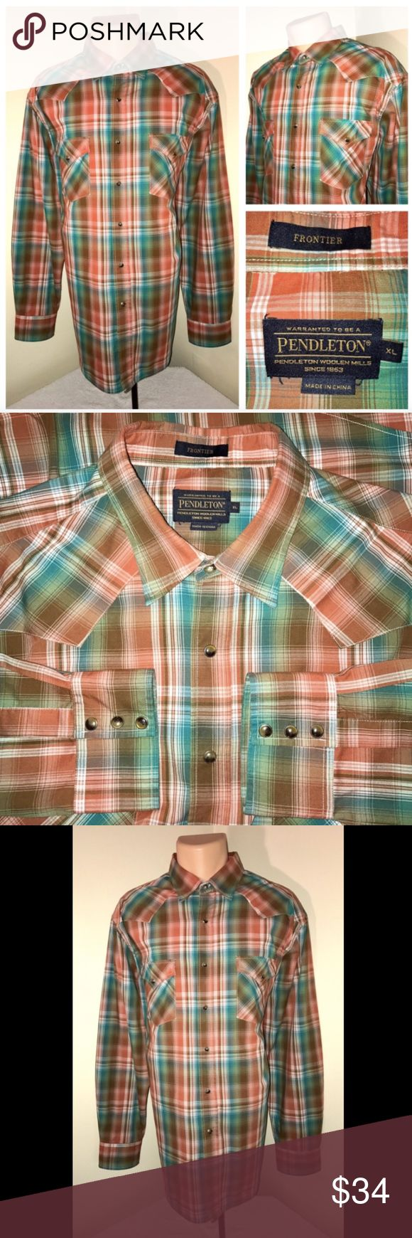 Pendleton Frontier Western Pearl Snap Shirt Sz XL ALL OFFERS CONSIDERED!   Description  Size: Extra Large Color: Rust Plaid Tag Measurements- XL Material: 100% Cotton Condition: Excellent  Features: Pearl Snaps, Long Sleeve, Comfortable and lightweight, Dual Breast Pockets Flaws: None  Measurements:  Chest - 25.5 inches  Shoulder - 20.5 inches  Sleeve - 25.5 inches  Length - 31.5 inches Pendleton Shirts Casual Button Down Shirts