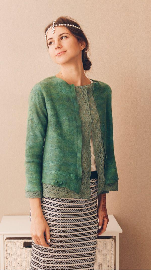"""Купить Валяный жакет """"Зеленое кружево"""" - зеленый, однотонный, зеленый жакет, пиджак женский"""