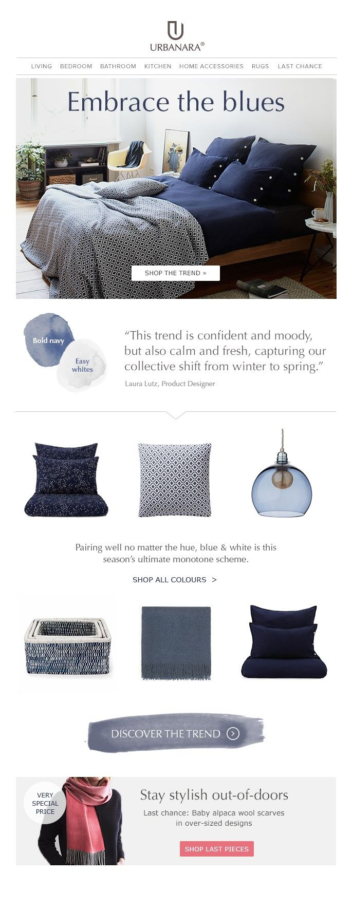 URBANARA newsletter template for colour theme and home textiles and decor. Follows us for tips and inspiration for your home decor, interior or fashion newsletters.
