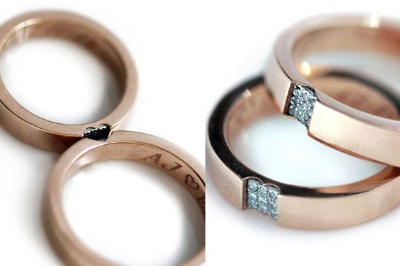 Promise ring set in 14k rose gold - Wedding band sets - Love rings - White diamonds - Heart wedding rings - Men wedding band rings Pink gold
