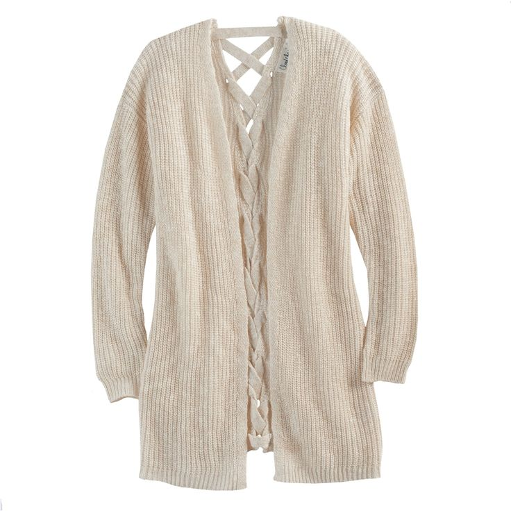Girls 7-16 & Plus Size Cloud Chaser Lace-Up Back Cardigan Sweater, Size: Xxl Plus, White Oth