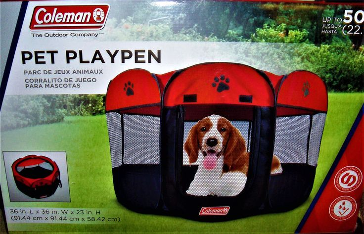 "Medium 50lbs Dog Puppy cat  Soft Tent Red Playpen waterpoof Play Pen Crate 36""D #Coleman"