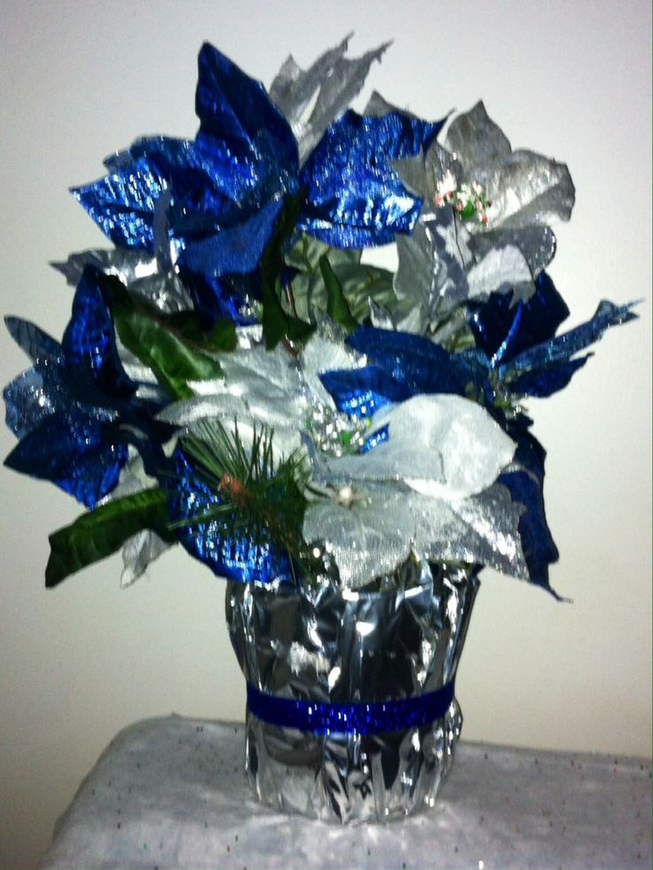 Festive holiday blue silver poinsetta christmas