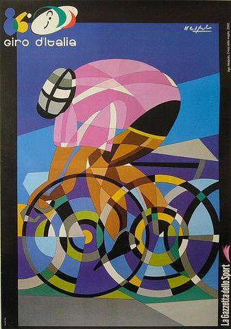 2002 Contemporary Italian Cycling Tour Poster - Giro Ditalia Painting