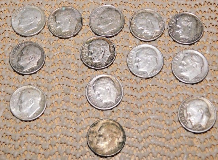 1960's Silver Dimes Lot : 13 Coins :  Five Different Coins 1960 to 1965