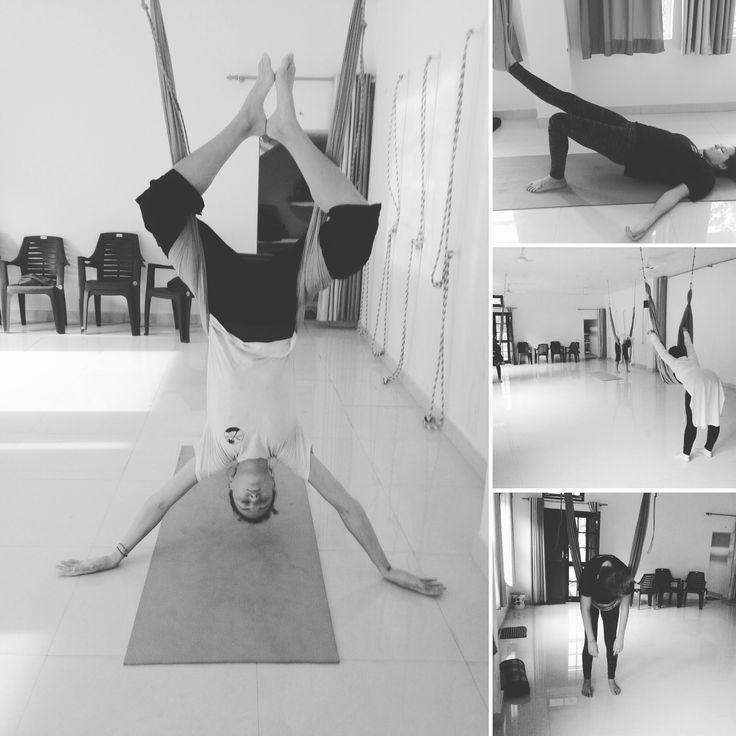 Applied Yoga Therapy with props ( hammock). Fun and relaxation, flexibility and strength. www.appliedyogadtudii.com #appliefyogaresearchandtrainingcentre #appliefyogastudio #appliedyogatherapy #airealyoga #antigraviti #hammockyoga #rishikesh #rishikeshspirit #india