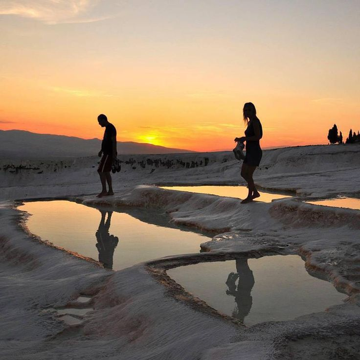 Pamukkale is famed for its mineral waters and hot springs, and is the perfect place to put the exhaustion of the day behind you to watch the sun set!