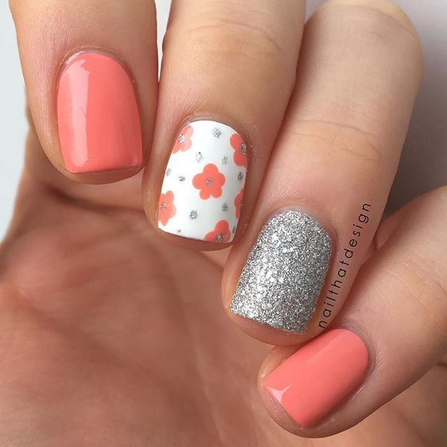 Coral and Silver Glitter Floral Nails