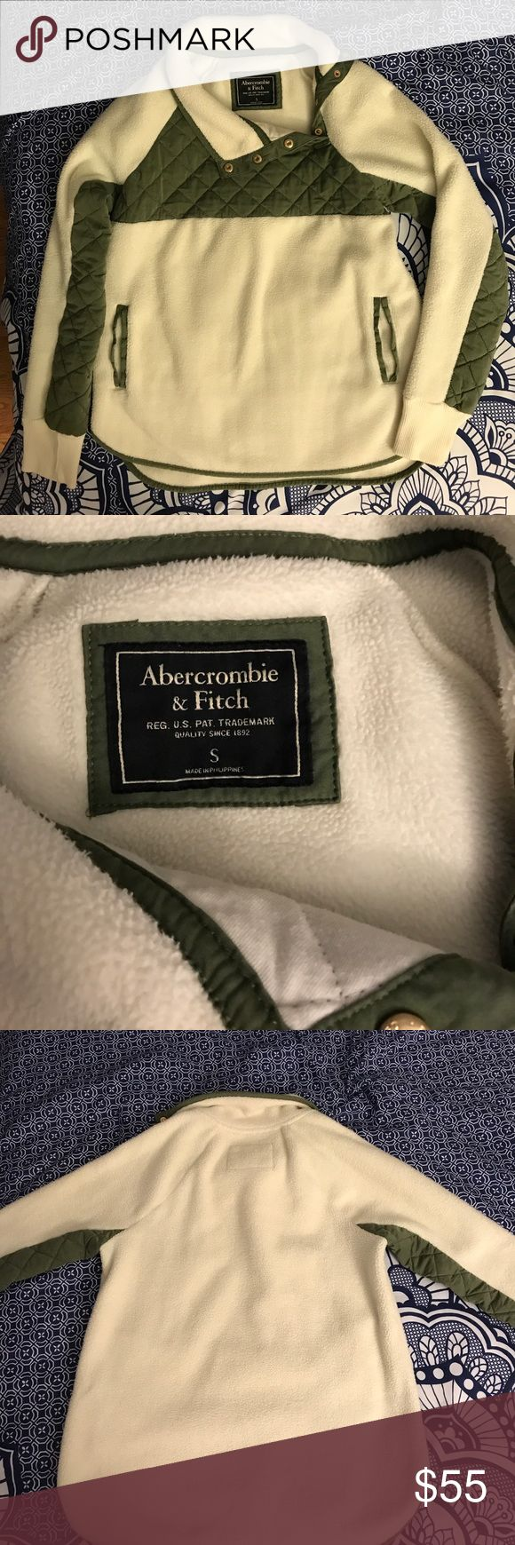 Abercrombie & Fitch asymmetrical snap hoodie This pullover is all over Instagram this season and comes highly rated. This was bought from another posher and I absolutely love it but unfortunately the color just doesn't work with my skin tone. It is a cream color with olive green accents. Abercrombie & Fitch Tops Sweatshirts & Hoodies