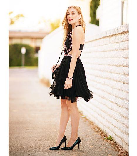 Kimberly Pesch of Eat Sleep Wear wearing Rebecca Taylor black cutout dress with silver studs