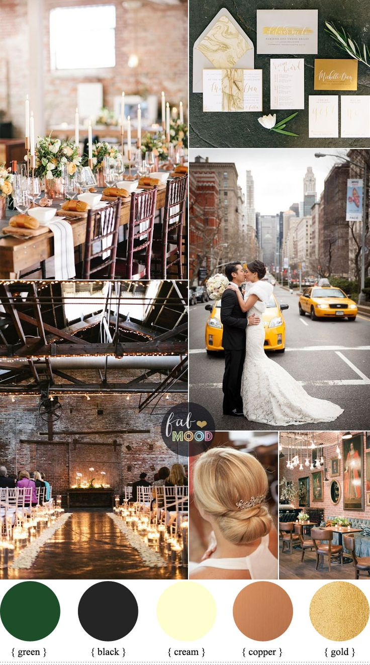 Tdday's Urban Chic Winter Wedding Inspiration. We chose black + cream + muted copper + gold and green wedding,romantic urban winter warehouse wedding