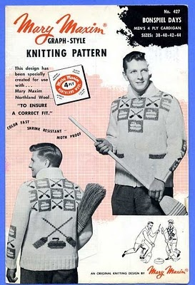 Curling sweater knitting pattern.  Wish I could find one of these that was free!
