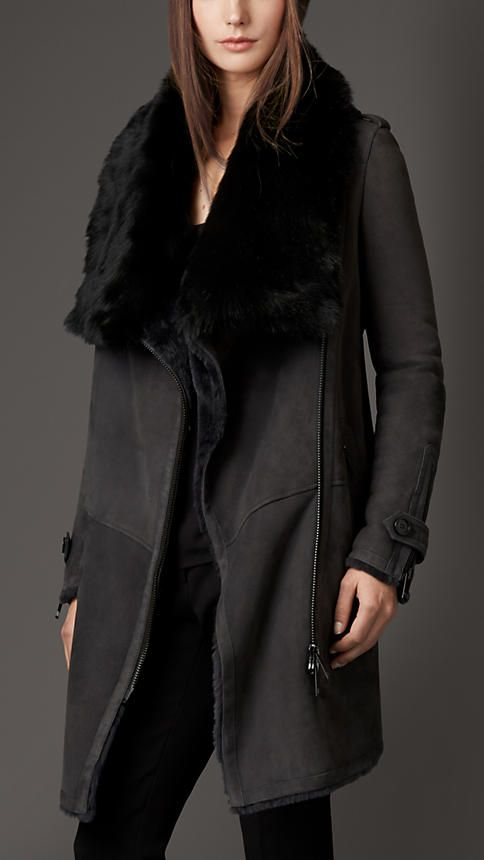 Charcoal Oversize Collar Shearling Coat - Image 1