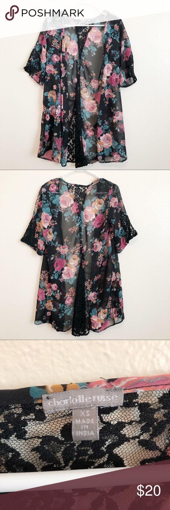 Floral lace inset kimono A sheer floral lace inset kimono in a size XS from Charlotte Russe. Has wide dolman sleeves and a crotchet lace inset design. This is brand new and has never been worn! Charlotte Russe Tops Blouses