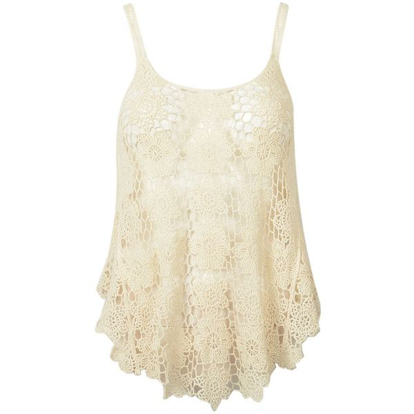 Choies Beige Crochet Floral Cut Out Swing Cami Top ($19) ❤ liked on Polyvore featuring tops, shirts, tank tops, tanks, beige, flower print shirt, floral cami, beige shirt, floral tank top and cami tank